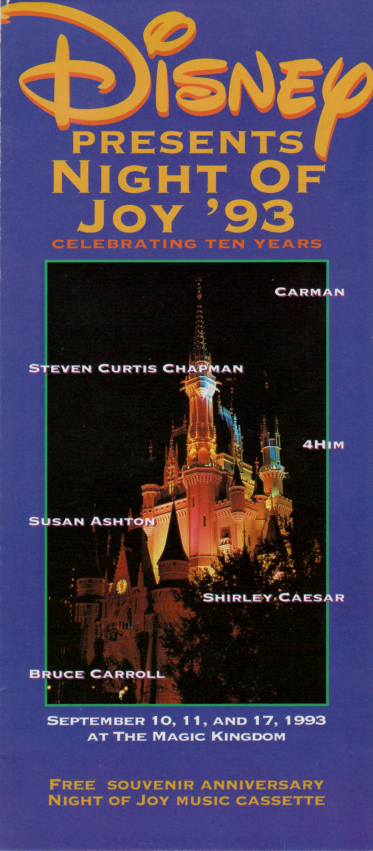 Walt Disney World Night Of Joy 93 Pamphlet 1993 Free Download Borrow And Streaming Internet Archive
